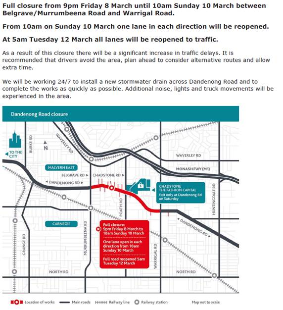 Labor Day weekend – Dandenong Road access